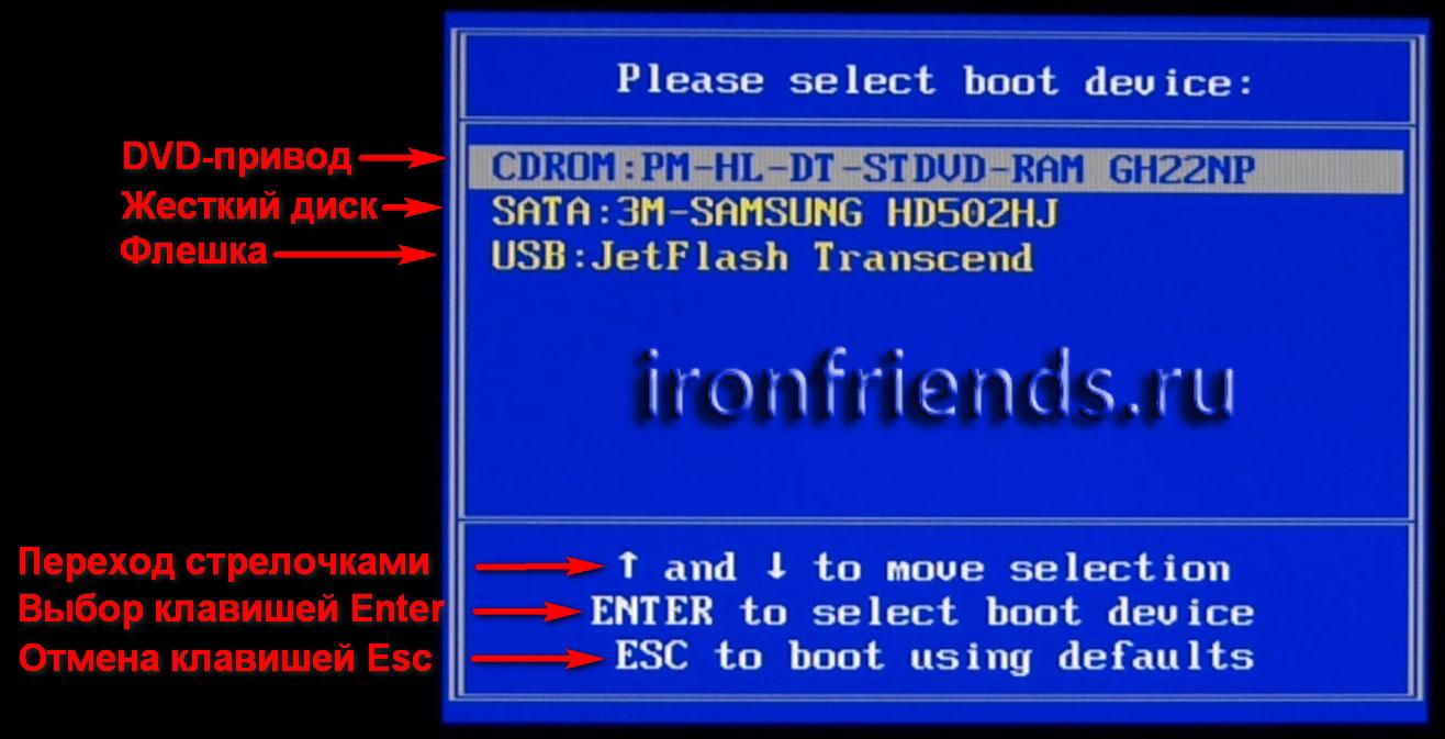 Загрузочное Boot Menu