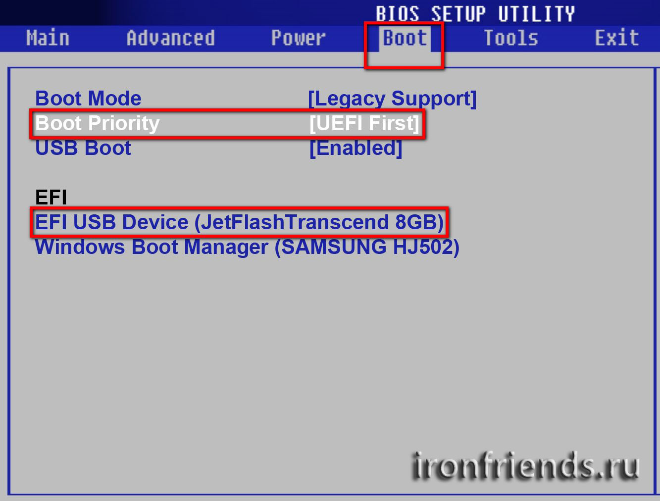 Приоритет загрузочных устройств в BIOS