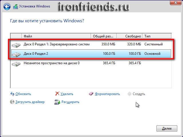 Созданы разделы для Windows 8.1