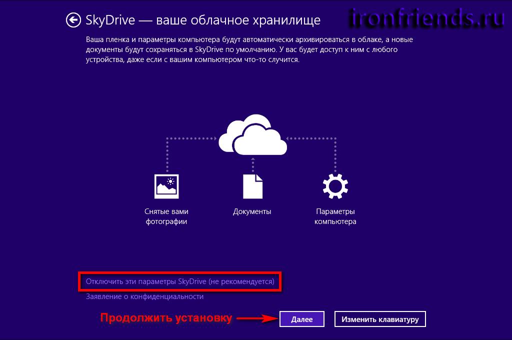 Отключить эти параметры SkyDrive