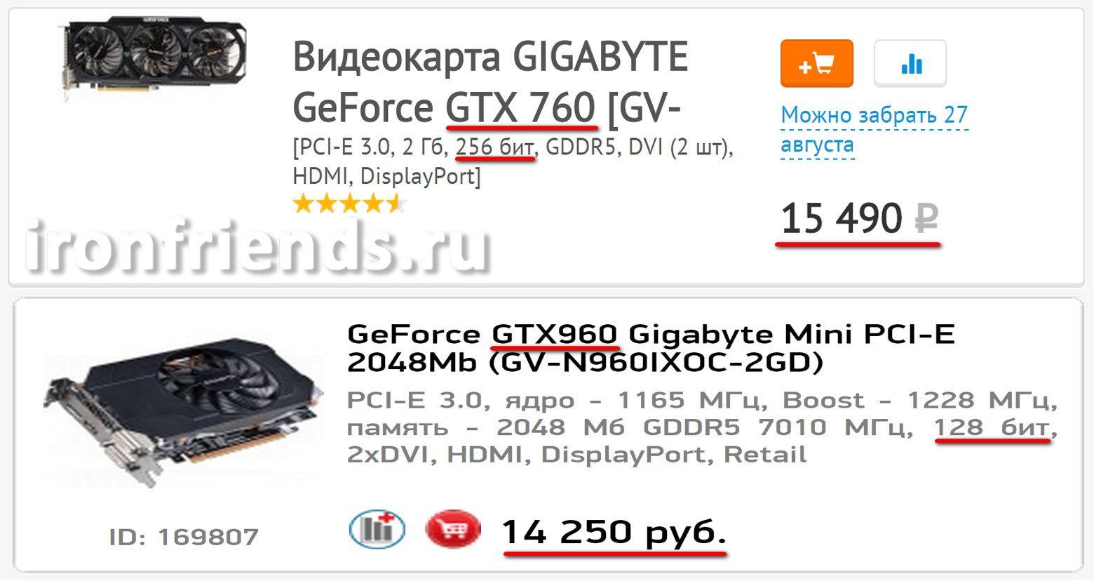 Стоимость видеокарт GTX 760 и 960