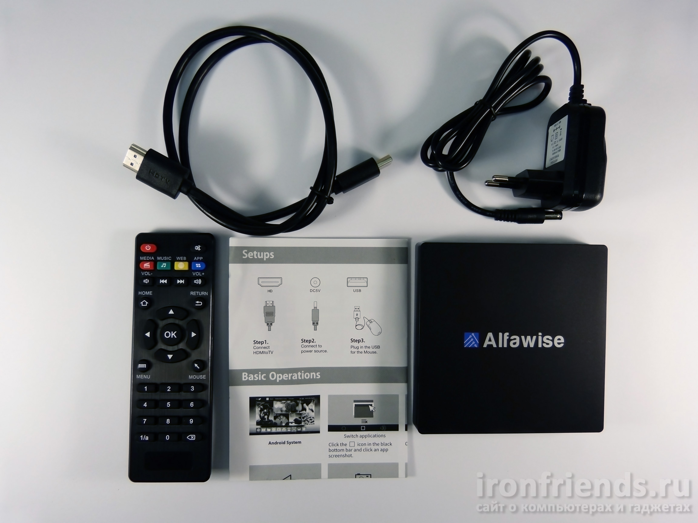 Комплект поставки Alfawise S92 TV Box