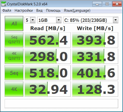 Скорость Transcend SSD370S на SATA 3