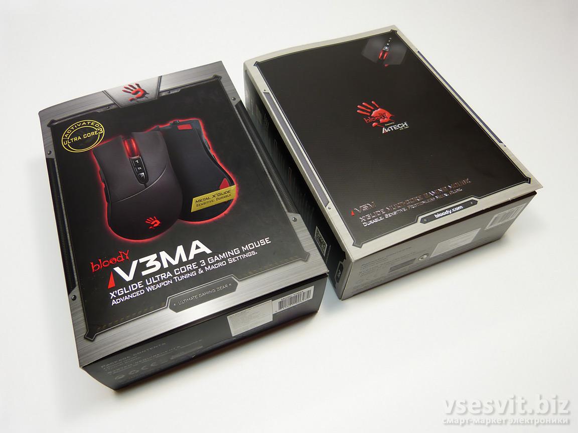 Упаковка A4Tech Bloody V3MA и V5M