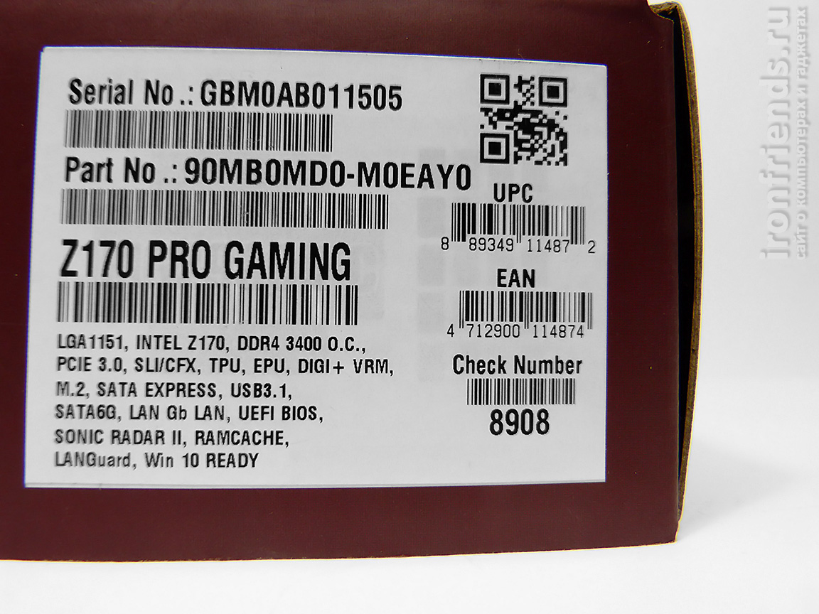 Характеристики Asus Z170 Pro Gaming