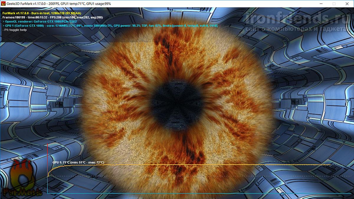 MSI GTX 1080 Gaming X в FurMark