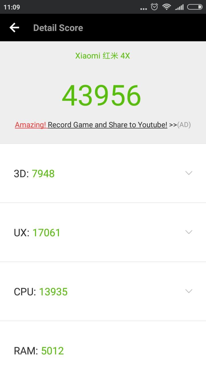 Результаты Xiaomi Redmi 4X в AnTuTu