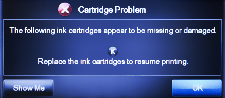 Сообщение о неисправном картридже HP