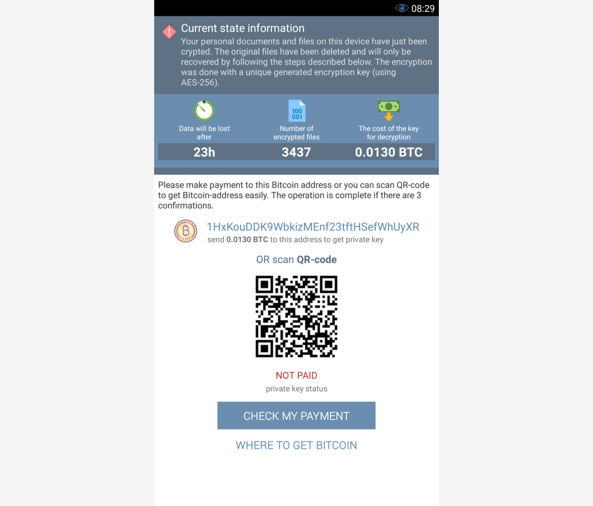 Вирус-шифровальщик на Android