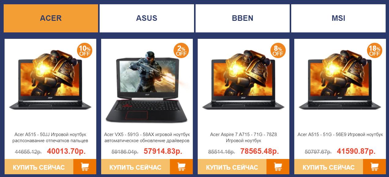 Ноутбуки по брендам
