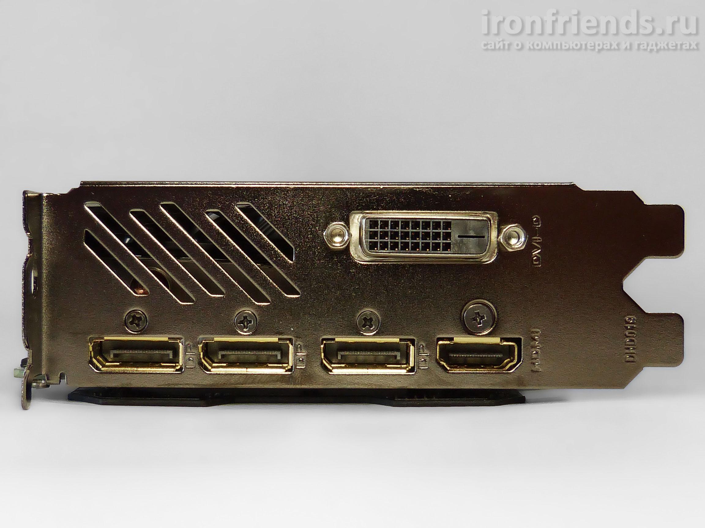 Разъемы Gigabyte GTX 1070 Ti Gaming 8G