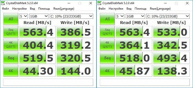 Тесты Samsung 860 Evo в CrystalDiskMark 5.2.0