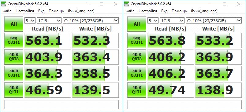 Тесты Samsung 860 Evo в CrystalDiskMark 6.0.2