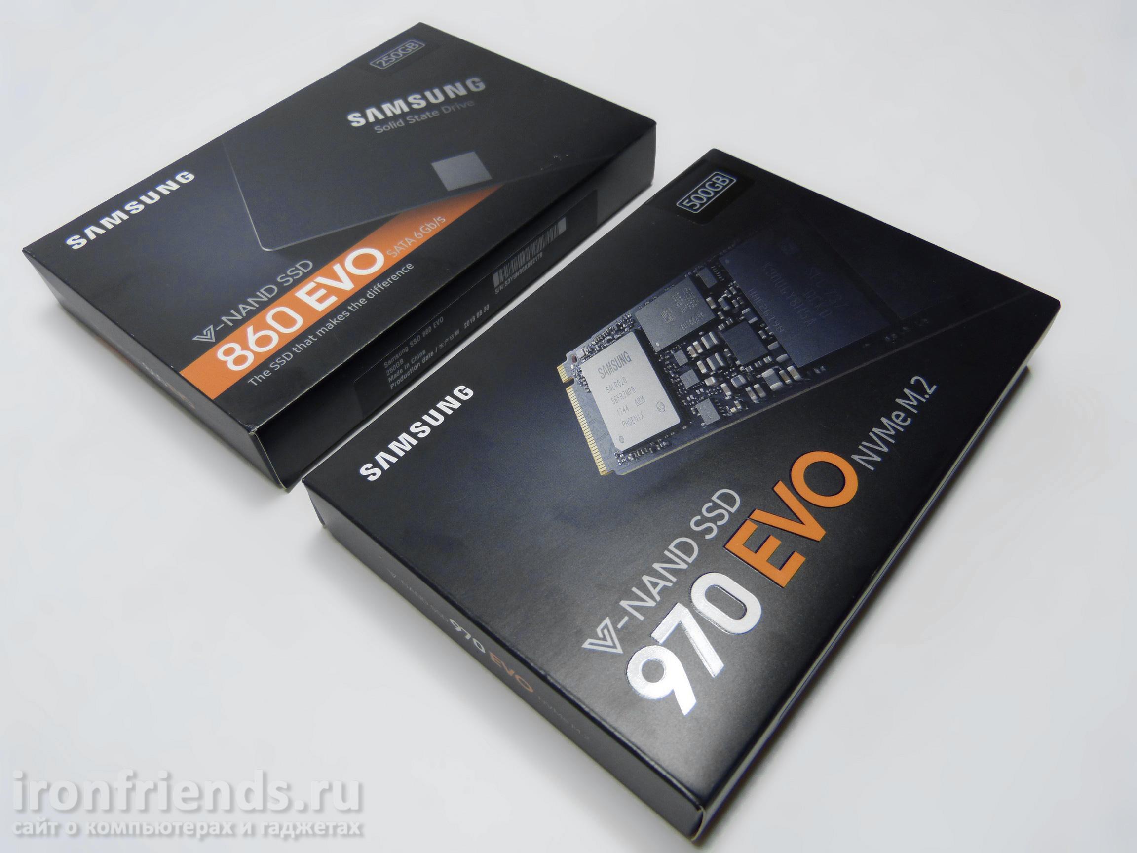 Упаковка Samsung 860 Evo и 970 Evo