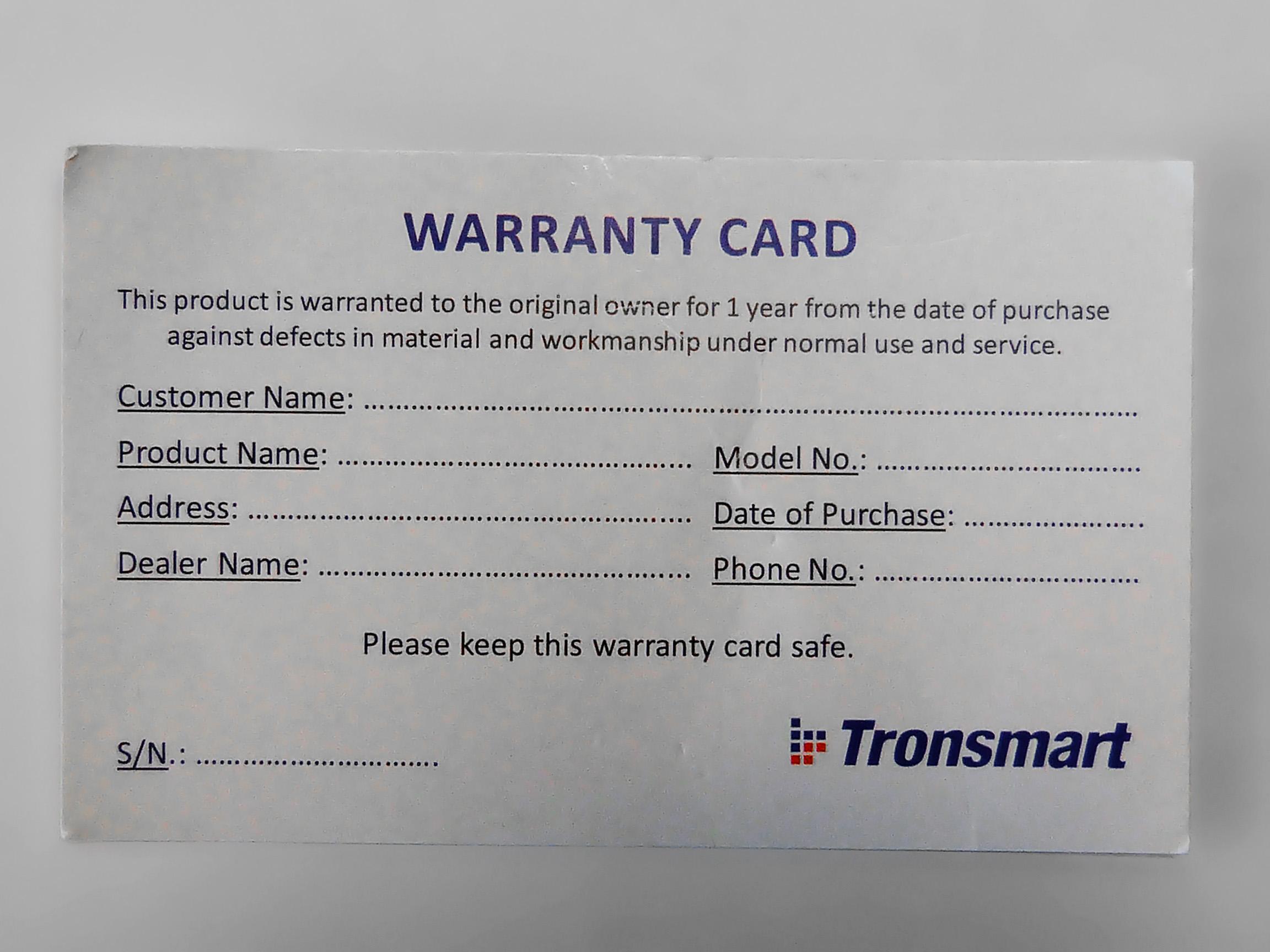 Гарантия Tronsmart Spire RGB Mouse Pad