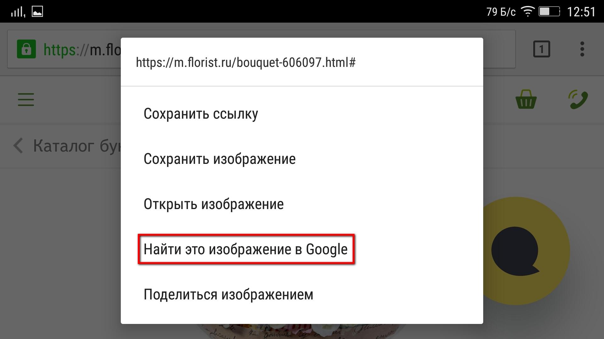 Поиск картинок на смартфоне в Google