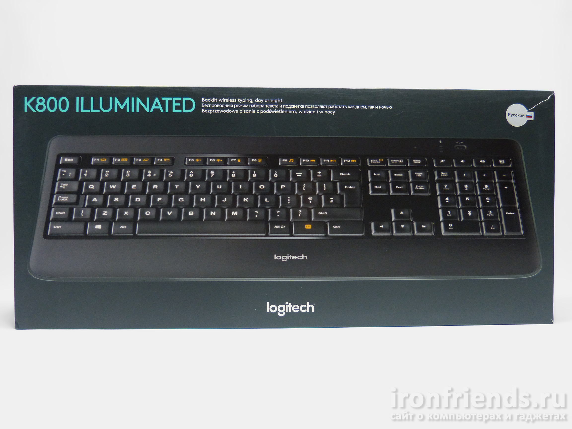 Упаковка Logitech K800 illuminated