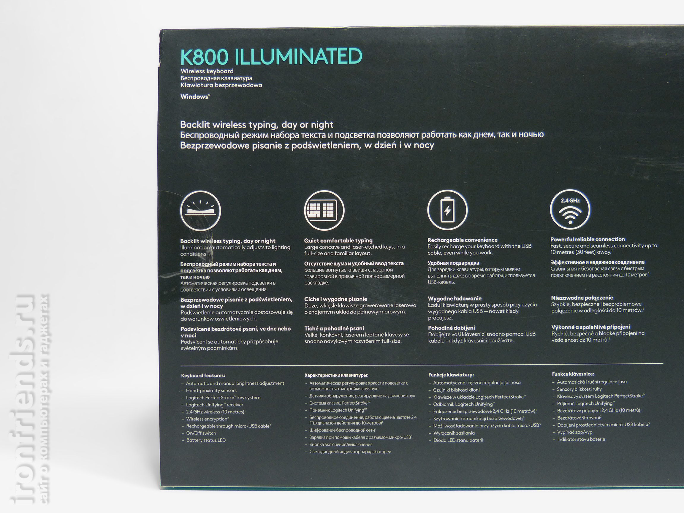 Характеристики Logitech K800 illuminated