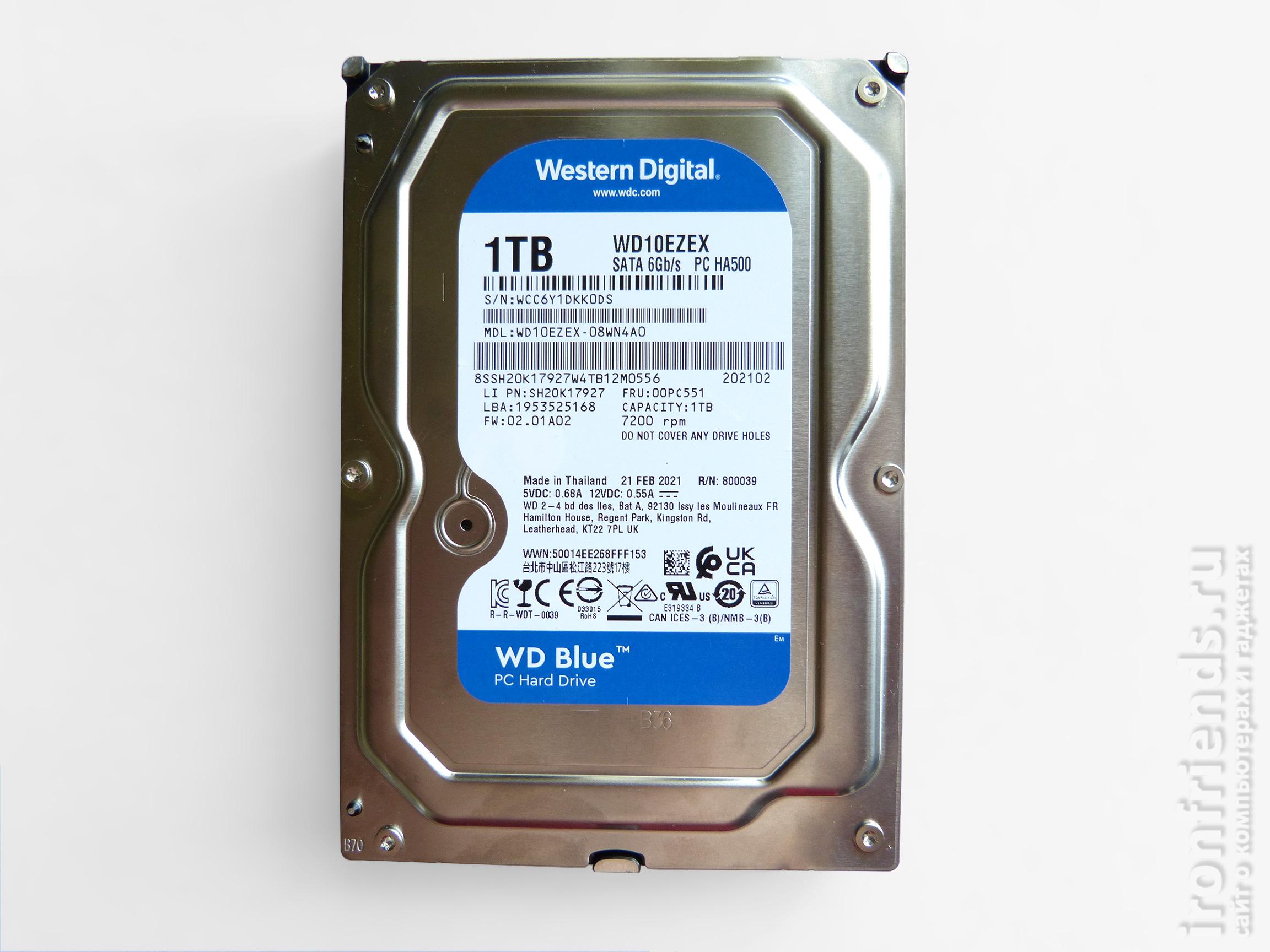 Жесткий диск WD Blue 1 TB (WD10EZEX)